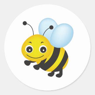 Cute bee design classic round sticker