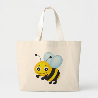 Cute bee design large tote bag
