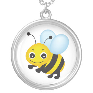 Cute bee design silver plated necklace