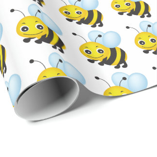 Cute bee design wrapping paper