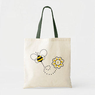 Cute Bee & Flower Tote Bag
