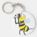 Cute Bee Holding Binoculars Looking at Something Basic Round Button Keychain