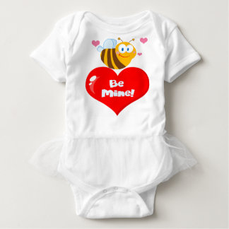 Cute Bee Holding Heart Saying be Mine Baby Bodysuit