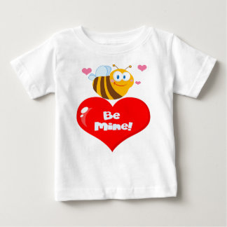 Cute Bee Holding Heart Saying be Mine Baby T-Shirt