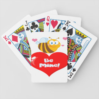 Cute Bee Holding Heart Saying be Mine Bicycle Playing Cards