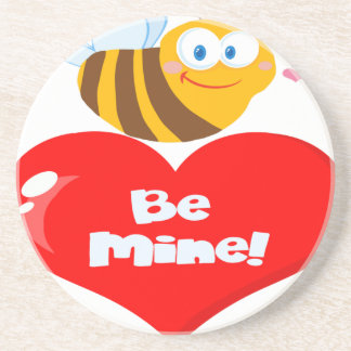 Cute Bee Holding Heart Saying be Mine Coaster