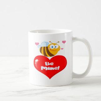 Cute Bee Holding Heart Saying be Mine Coffee Mug