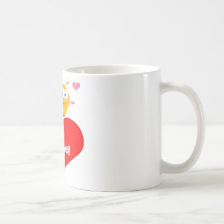 Cute Bee Holding Heart Saying be Mine Coffee Mug