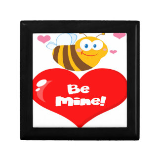 Cute Bee Holding Heart Saying be Mine Gift Box