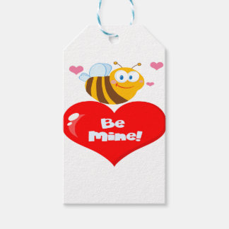 Cute Bee Holding Heart Saying be Mine Gift Tags