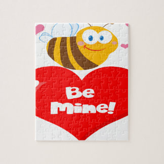 Cute Bee Holding Heart Saying be Mine Jigsaw Puzzle