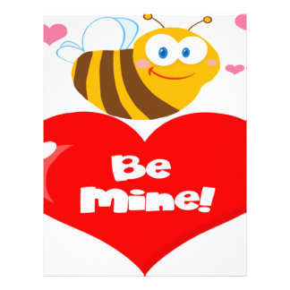 Cute Bee Holding Heart Saying be Mine Letterhead Template