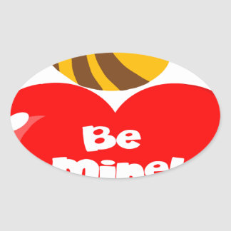 Cute Bee Holding Heart Saying be Mine Oval Sticker