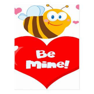 Cute Bee Holding Heart Saying be Mine Postcard