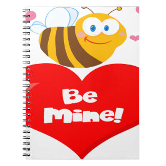 Cute Bee Holding Heart Saying be Mine Spiral Notebooks
