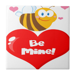 Cute Bee Holding Heart Saying be Mine Tile