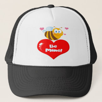 Cute Bee Holding Heart Saying be Mine Trucker Hat