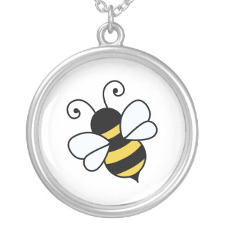 Cute bee silver plated necklace