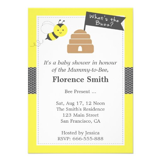 Cute Bee Theme Baby Shower In Yellow and Dark Grey Personalized Invites
