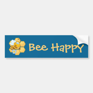 Cute Bee With Hive & Bucket Bumper Sticker