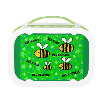 "'""Cute bees"" inspirational words kids school Lunch Box"