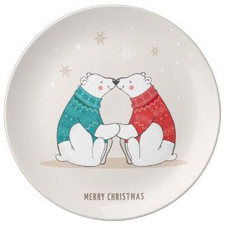 Cute Beige Christmas Polar Bears Plate