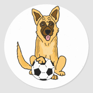 Cute Belgian Malinois Dog Playing Soccer Cartoon Classic Round Sticker