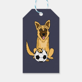 Cute Belgian Malinois Dog Playing Soccer Cartoon Gift Tags