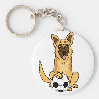 Cute Belgian Malinois Dog Playing Soccer Cartoon Keychain