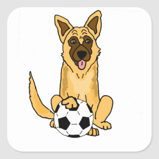 Cute Belgian Malinois Dog Playing Soccer Cartoon Square Sticker