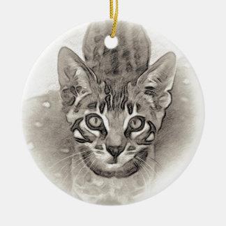 Cute Bengal Kitten Drawing Ceramic Ornament