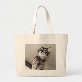 Cute Bengal Kitten Large Tote Bag