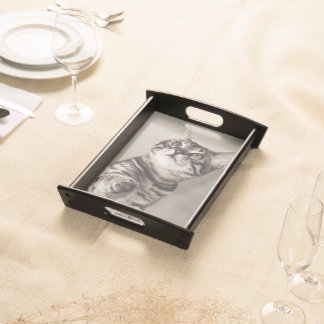 Cute Bengal Kitten Photo Serving Tray