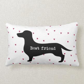 Cute Best Friend dachshund silhouette with hearts Lumbar Pillow
