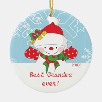 Cute Best Grandma Snowman Christmas Ornament