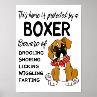 Cute Beware of Boxer Poster