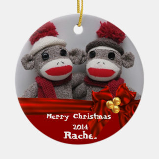 CUTE BFF Sock Monkey  ROUND Ornament 2014
