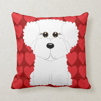 Cute Bichon Frise and Hearts Throw Pillow