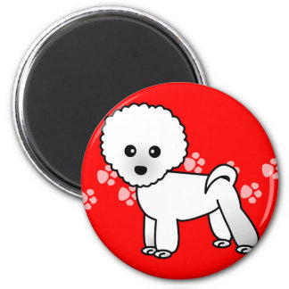 Cute Bichon Frise Cartoon 2 Inch Round Magnet
