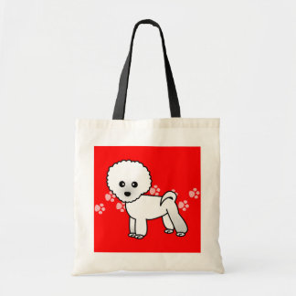 Cute Bichon Frise Cartoon Budget Tote Bag
