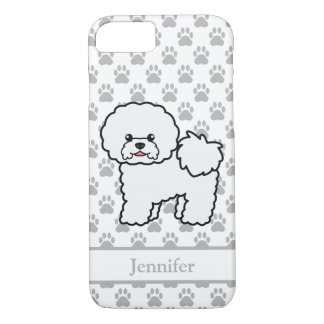 Cute Bichon Frise Cartoon Dog & Personalized Name iPhone 8/7 Case
