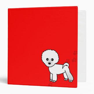 cute bichon frise cartoon red paw print vinyl binder - Frise Vinyle