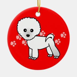 Cute Bichon Frise Cartoon - Red Pawprints Round Ceramic Ornament