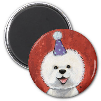 Cute Bichon Frise Party Dog Illustration Magnet