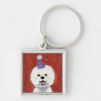 Cute Bichon Frise Party Dog Illustration Silver-Colored Square Keychain