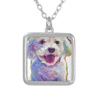 Cute Bichon Frise Silver Plated Necklace
