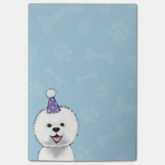 Cute Bichon Frise Wearing a Party Hat Post-it® Notes