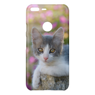 Cute Bicolor Cat Kitten Pink Flowers Photo Animal Uncommon Google Pixel XL Case
