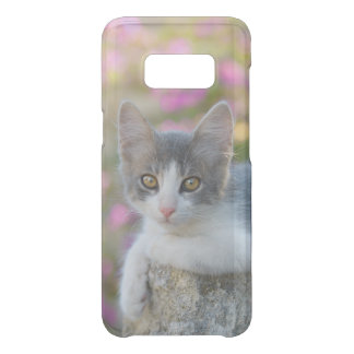 Cute Bicolor Cat Kitten Pink Flowers Photo Animal Uncommon Samsung Galaxy S8 Case