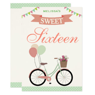 Cute Bicycle Sweet Sixteen 16 Birthday Invitation